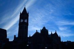 Silhouet van Oude Zuidenkerk in Boston, Massachusetts, de V.S. Royalty-vrije Stock Fotografie