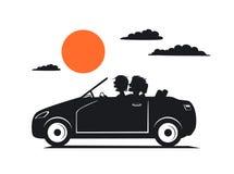 Silhouet van paar, de mens en vrouw in liefde op roadtrip drivig een auto vector illustratie