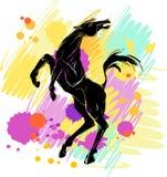 Silhouet van paard royalty-vrije illustratie