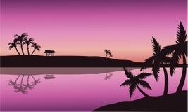 Silhouet van palm in kust Royalty-vrije Stock Fotografie