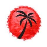 Silhouet van palmen tegen de zon Vector Stock Afbeelding