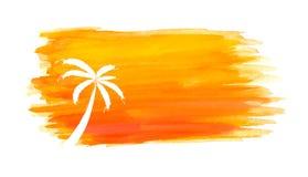 Silhouet van palmen tegen de zon Vector Royalty-vrije Stock Afbeeldingen