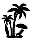 Silhouet van palmen vectorillustratie Stock Afbeeldingen