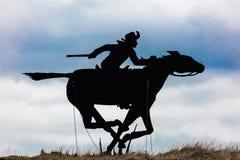 Silhouet van Pony Express Rider royalty-vrije stock afbeeldingen