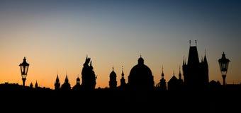 Silhouet van Praag - landschapsformaat Stock Fotografie