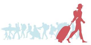 Silhouet van reizende vrouw met GLB, rugzak en karretje vector illustratie
