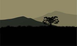 Silhouet van reusachtige berg Stock Fotografie