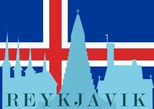 Silhouet van Reykjavik Stock Afbeeldingen