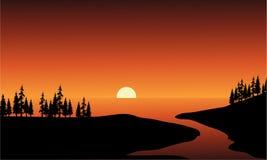 Silhouet van rivier en overzees Royalty-vrije Stock Fotografie