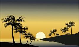 Silhouet van rivier en palm Stock Afbeeldingen