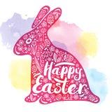 Silhouet van roze konijn met een gelukwens voor gelukkige Pasen op een waterverfachtergrond Vectorillustratie, Ontwerp Stock Afbeelding