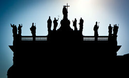 Silhouet van San Giovanni in Laterano Stock Afbeeldingen