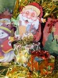 Silhouet van Santa Claus met Kerstmispakketten Stock Foto