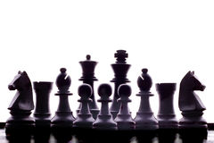 Silhouet van schaakstukken Stock Afbeelding