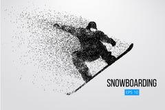 Silhouet van snowboarder geïsoleerd springen Vector illustratie Stock Fotografie