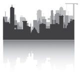 Silhouet van stad Stock Afbeeldingen