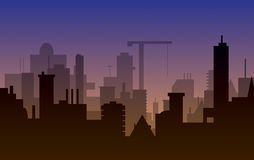 Silhouet van stad Royalty-vrije Stock Afbeeldingen