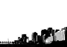 Silhouet van stad. Vector royalty-vrije illustratie