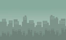Silhouet van stad velen de bouw royalty-vrije illustratie