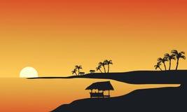 Silhouet van strand bij ochtend Royalty-vrije Stock Foto