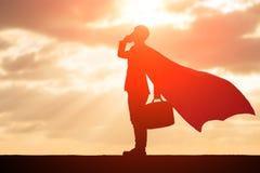 Silhouet van super zakenman royalty-vrije stock foto's