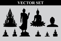 Silhouet van Thaise Boedha Stock Foto's