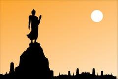 Silhouet van Thaise Boedha Royalty-vrije Stock Foto