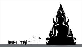 Silhouet van Thaise Boedha Royalty-vrije Stock Fotografie