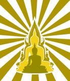 Silhouet van Thaise Boedha Royalty-vrije Stock Foto's