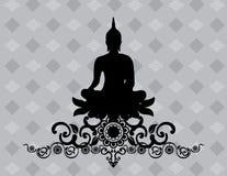 Silhouet van Thaise Boedha Stock Afbeeldingen
