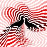 Silhouet van twee duiven. Ontwerp kleurrijk gestreept t Royalty-vrije Stock Afbeelding
