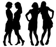 Silhouet van twee jonge slanke vrouwen vector illustratie