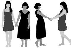 Silhouet van twee jonge slanke vrouwen Royalty-vrije Stock Afbeelding