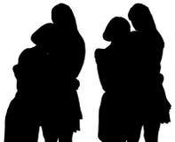 Silhouet van twee jonge vrouwen Royalty-vrije Stock Foto