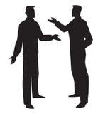 Silhouet van twee mensen die, illustratie spreken Stock Fotografie
