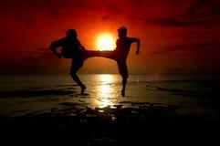 Silhouet van twee mensen het vechten Stock Foto's