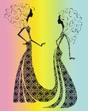 Silhouet van twee mooie meisjes. Royalty-vrije Stock Foto's