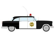 Silhouet van uitstekende politiewagen. Stock Fotografie