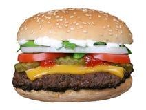 Silhouet van van de kaashamburger en zomer tuingroenten Stock Afbeelding