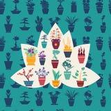 Silhouet van van tuinbloemen en kruiden potteninstallaties Stock Fotografie