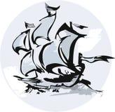Silhouet van varend schip Royalty-vrije Stock Afbeelding