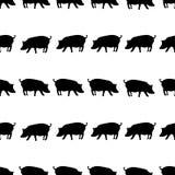 Silhouet van varkens het zwarte schaduwen in lijnenpatroon eps10 stock illustratie