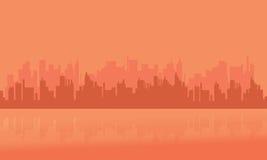 Silhouet van velen bouwstad stock illustratie