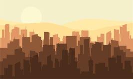 Silhouet van velen de industriële bouw royalty-vrije illustratie