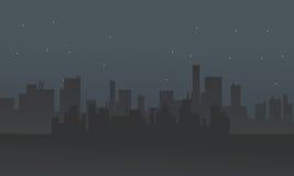 Silhouet van velen die bij nacht bouwen vector illustratie