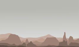 Silhouet van velen rots in heuvelslandschap royalty-vrije illustratie