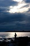 Silhouet van visser Royalty-vrije Stock Afbeelding
