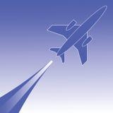 Silhouet van vliegtuig Stock Foto's