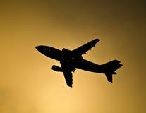 Silhouet van Vliegtuig Royalty-vrije Stock Afbeelding
