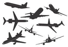 Silhouet van vliegtuigen Royalty-vrije Stock Afbeeldingen